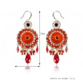 Color Block Rhinestone Alloy Earrings