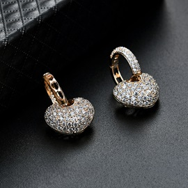 Heart Imitation Diamond Shiny Alloy Earrings