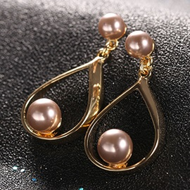 Pearl Water Drop Alloy Korean Style Simple Earrings
