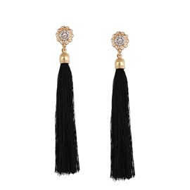 Long Alloy Diamante Tassel Prom Earrings