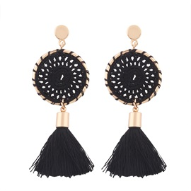 Woven Vintage Long Tassel Alloy Round Earrings