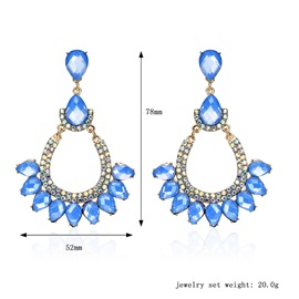 Pure Blue Water Drop Shaped Stone Diamante Hollow Alloy Gift Drop Earrings