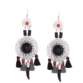 Hollow Out Flower Shaped Stainless Steel Multicolor Resin Balls Tassel Ethnic Vintage Drop Earrings