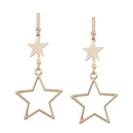 Hollow Star Shaped Pendant Gold-Tone Polishing Alloy Drop Earrings
