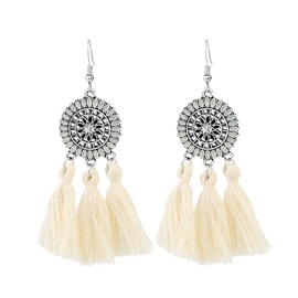 Marquise Shaped Oil Drip Ringlike Color Block Rhinestone Three Long String Tassel Earrings