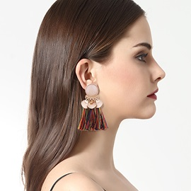 Geometric Rhinestone Bunches Vintage Drop Tassel Earrings