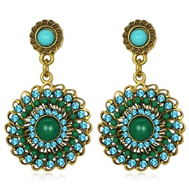 Flower Shape Green Rhinestone Ethnic Eardrop Earrings