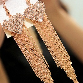Sweet Heart Shape Rhinestone Inlaid Long Tassel Earrings