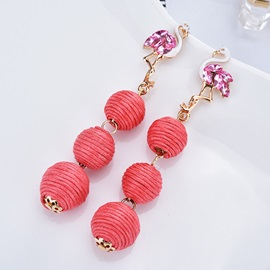 Swan Shape Thread Balls Bohemian Long Drop Earrings