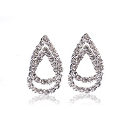 Silver-Zone Hollow Water Drop Concise Stud Earrings