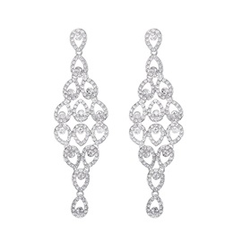 Hollow Sparkling Rhinestone Gemmed Drop Earrings