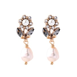 Pearl Decorated Floral Shape Mini Drop Earrings