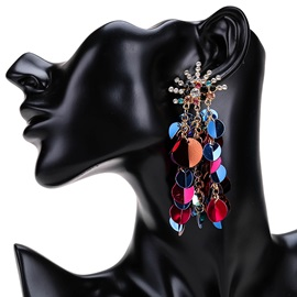 Sparkling Multilayer Sequins Design Structured Statement Earrings