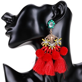 Multilayer Tassel Ball Design Structured Statement Earrings