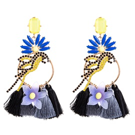 Braid Floral Bird Design Multi-Layer Drop Earrings