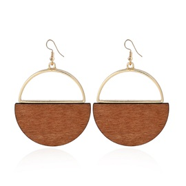 Handmade Semi-circle Wooden Design Drop Earrings