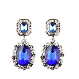 European Sapphire Decorated Party Drop Earrings