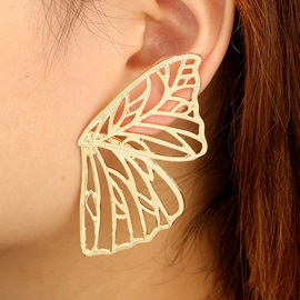 Hollow Out Butterfly Shape Golden Metal Stud Earrings