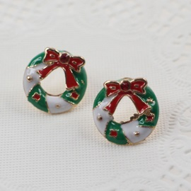 Bow-Knot Shape Oil Drip Christmas Gift Stud Earrings