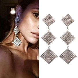 Shiny Full Drill Square Shape Wedding Earrings