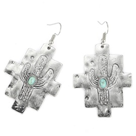 Cactus Pattern Turquoise Decorated Drop Earrings