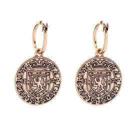 Round Coin Shape Horse Pattern Vintage Earrings Set