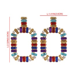 Color Block Gemstone Decorated E-Plating Party Earrings