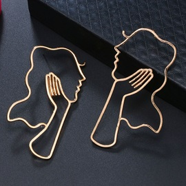 Hollow Out Face Shape Alloy Statement Earrings