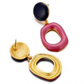 Irregular O Shape Colorful Statement Earrings
