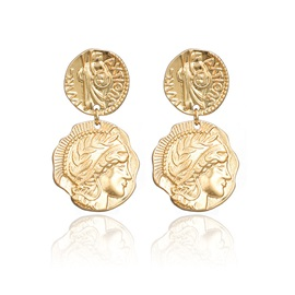 Gold Carved Irregular Coin Women Statement Earring