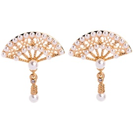 Alloy Pearl Inlaid Sweett Sector Earrings