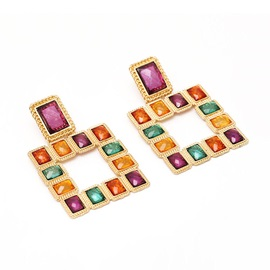 Diamante Alloy Square Earrings