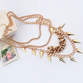 Gorgeous Western Exaggeration Punk Alloy Rivet Lady's Multi-layers Fashion Necklaces
