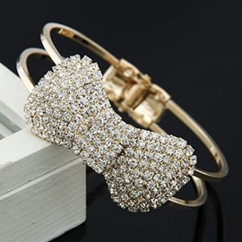 Brilliant Rhinestone Bow Knot Alloy Women's Open Bangle