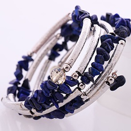 Cool Multi-layered Natural Stone Alloy Bangle