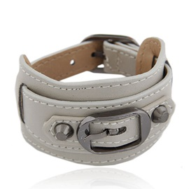 Top Class Metallic Buckles Leather Belt Bracelet