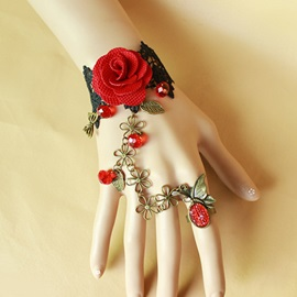 Vintage Gothic Rose and Cute Flowers Black Lace Bracelet with Diamond Ring