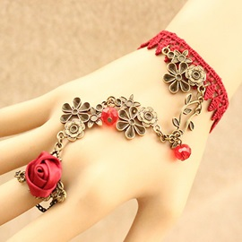 Vintage Flower Vine Crystal Lace Bracelet with Ring