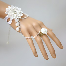 Delicate White Flower with Ring Women Bracelet