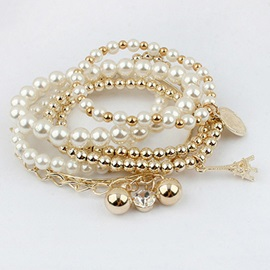 Multilayer Pearl Tower Pendant Bracelet