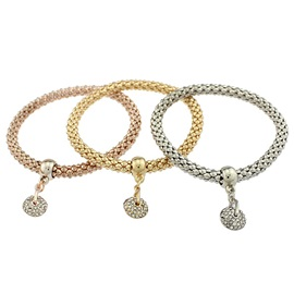 Alloy Diamante Ball Pendant Bracelet