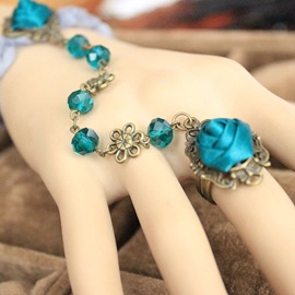 Green Flowers Crystal Bracelet with Ring