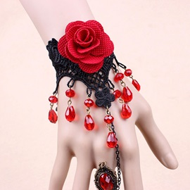 Gothic Red Rose Lace Bracelet with Ring