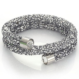 Double Layers Rhinestone Inlaid Bracelet