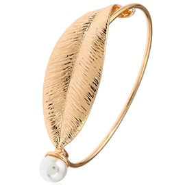 Pearl Inlaid Alloy Leaf Design Women's Bracelet