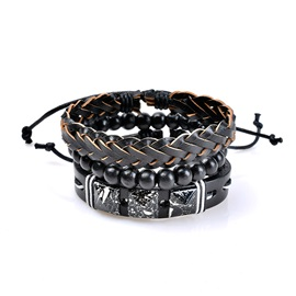 Leather Woven Rope Wooden Beads Irregular Stone Group Bracelets & Bangles