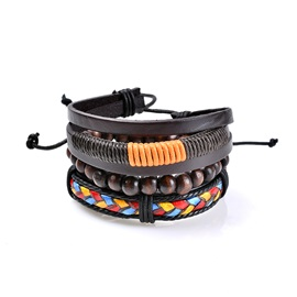 Light Color Beads Leather Braid Rope Separable Combination Handmade Bracelets & Bangles