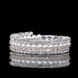 Sweet Pearl Full Drill Multilayer Bracelets & Bangles