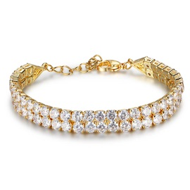 MarkChic Double Layer Cubic Crystal Stone Gold-Tone Alloy Simple OL Bracelets & Bangles