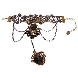 Halloween Black Rose Water Drop Crystal Stone Tassel Lace Bronze-Tone Alloy Chains Ring Bracelets & Bangles